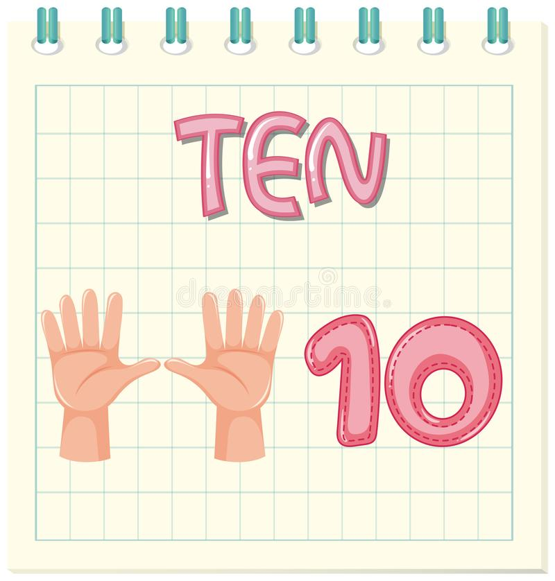 Count number ten worksheet. Illustration vector illustration
