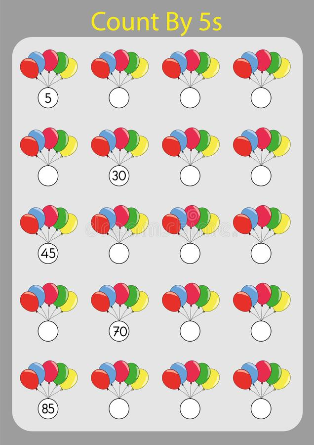 Count By 5s Practice Worksheet, Write The Missing Numbers, Stock ...