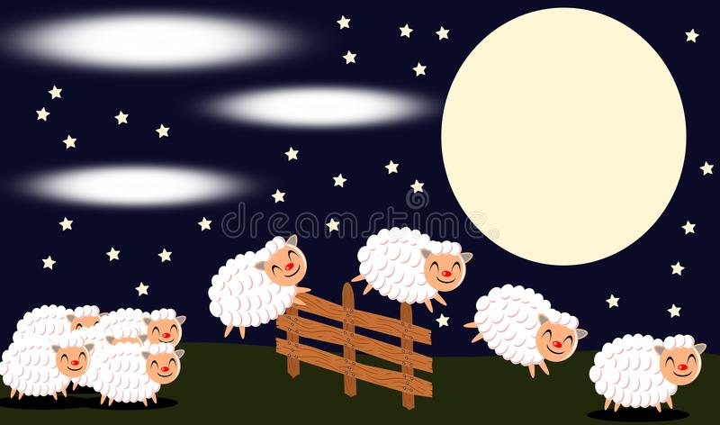 Count of the sheep royalty free illustration