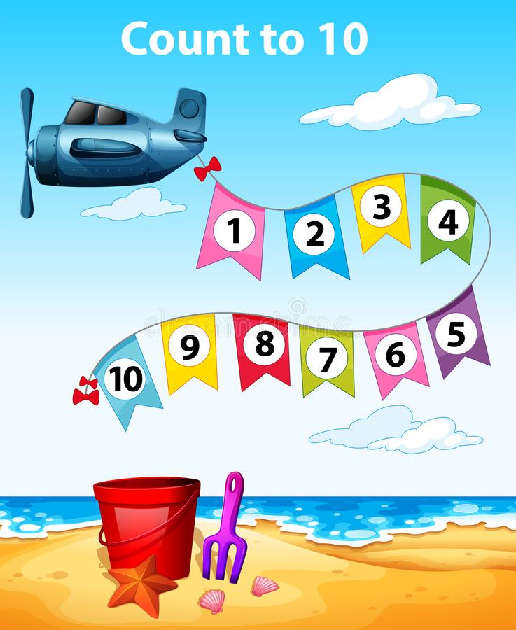Count to 10 plane scene. Illustration vector illustration