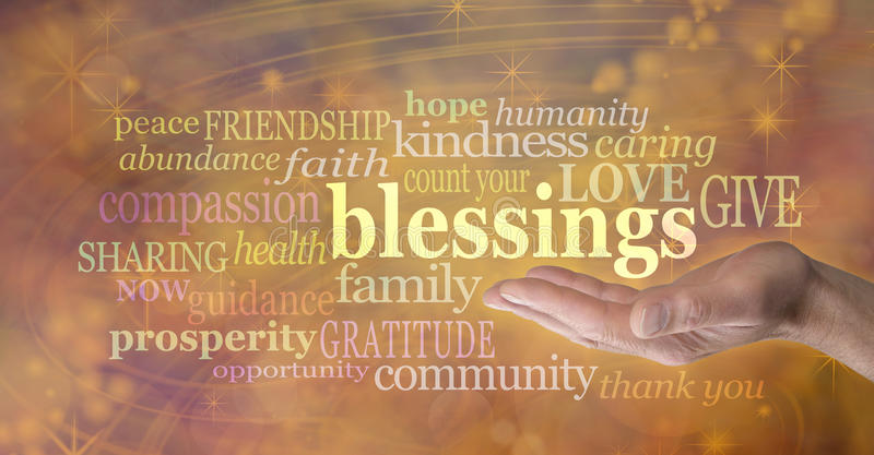 Count your blessings. Male hand outstretched with palm facing up and the word 'blessings' floating above surrounded by relevant words in a word cloud on a golden