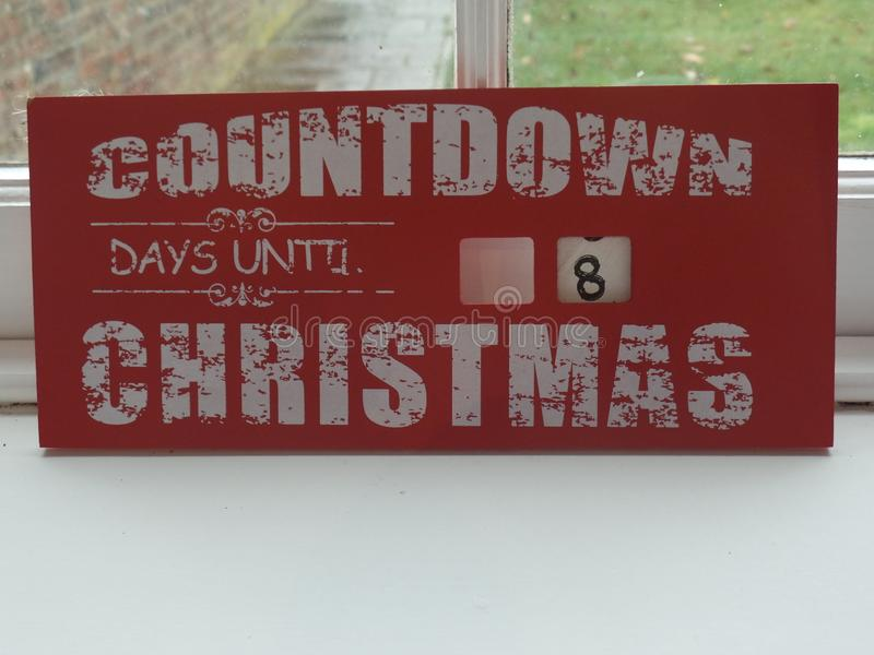 Countdown days until Christmas sign stock image