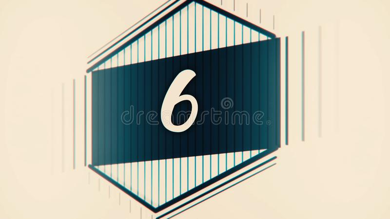 Countdown film leader with drawn numerals. Stop motion pastel countdown cartoon animation on blackboard background - new vector illustration
