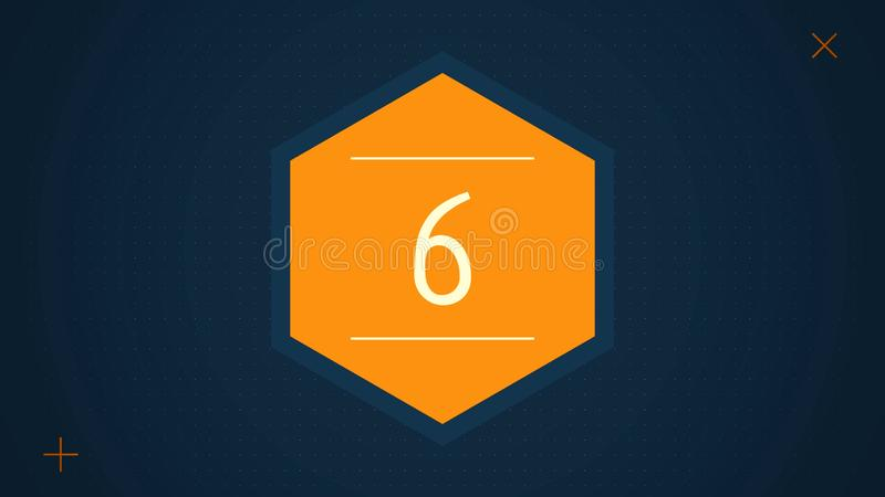 Countdown leader graphic with amazing white graphic hexagons 25 to 0. Countdown Motiongraphic 0 to 25. Simple countdown royalty free illustration