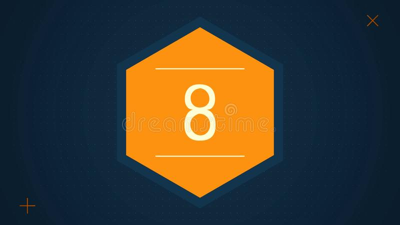 Countdown leader graphic with amazing white graphic hexagons 25 to 0. Countdown Motiongraphic 0 to 25. Simple countdown vector illustration