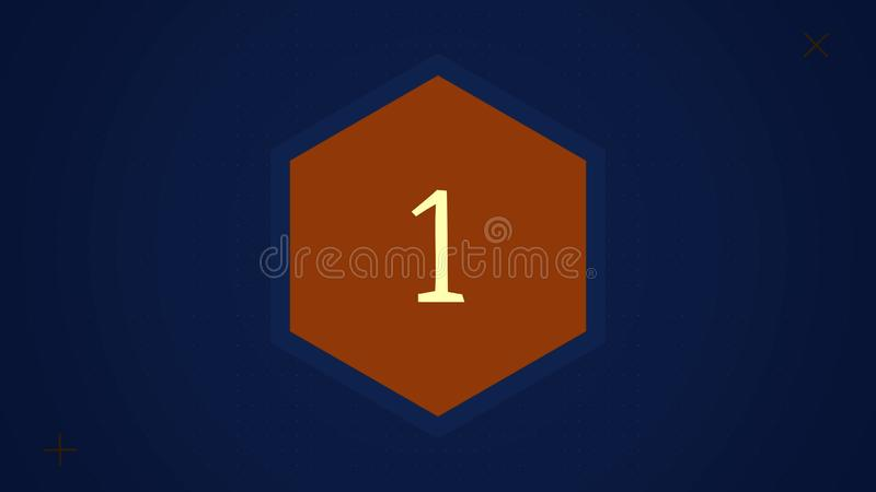 Countdown leader graphic with amazing white graphic hexagons 25 to 0. Countdown Motiongraphic 0 to 25. Simple countdown stock illustration