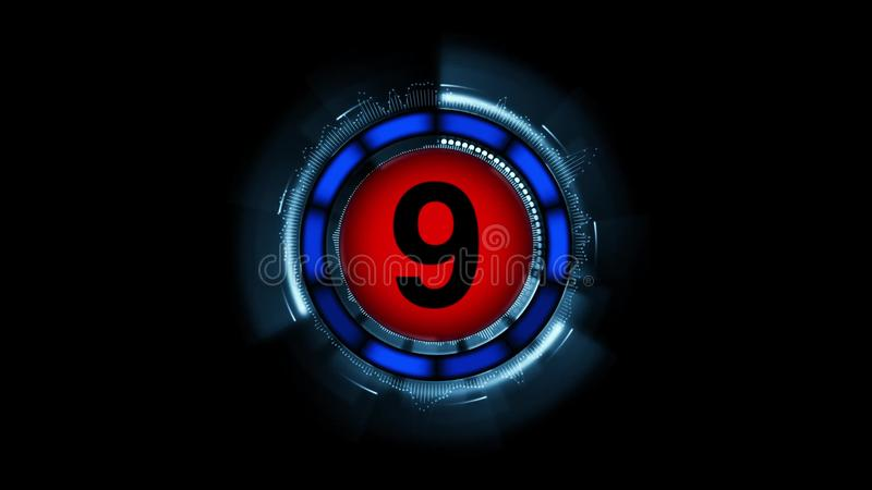 Countdown leader graphic number 9 royalty free illustration