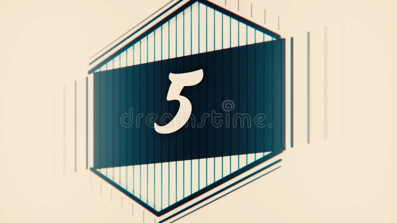 Countdown leader graphic 10 to 0. Number count from 1 to 10. Stop motion animation with color paper. Countdown film stock illustration