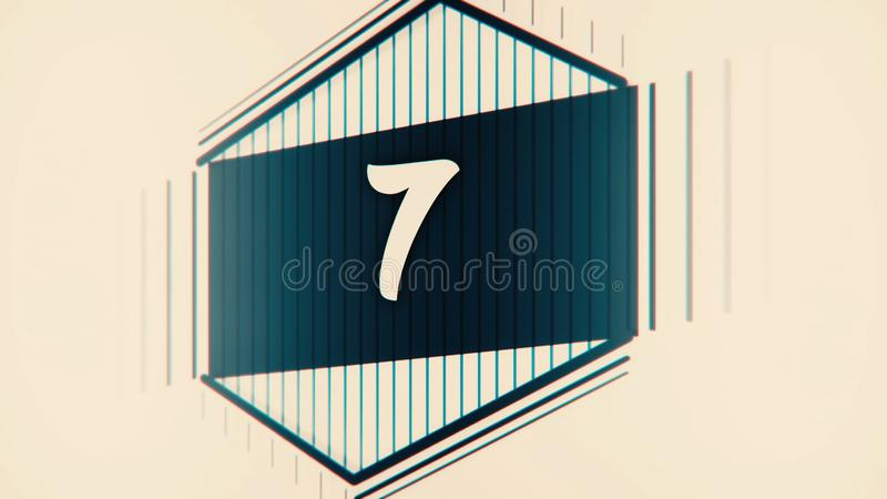 Countdown leader graphic 10 to 0. Number count from 1 to 10. Stop motion animation with color paper. Countdown film. Leader with drawn numerals royalty free stock photography