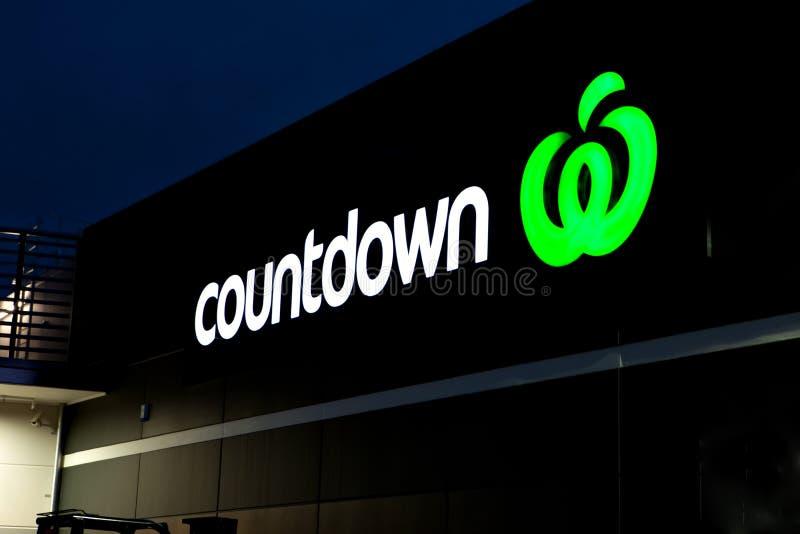 Countdown logo lit up at night. stock photos