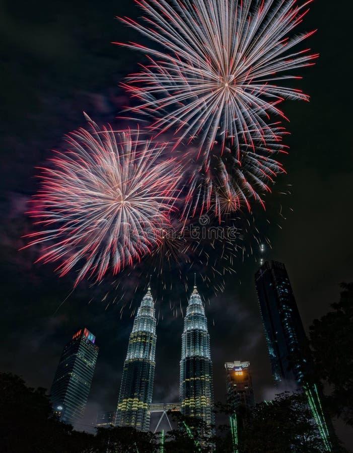 Countdown new year 2018 KLCC Kuala Lumpur fireworks royalty free stock photos