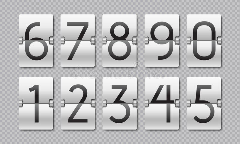 Countdown numbers. Flip clock counter, time elements for digital scoreboard and analog timer. Vector countdown remaining royalty free illustration