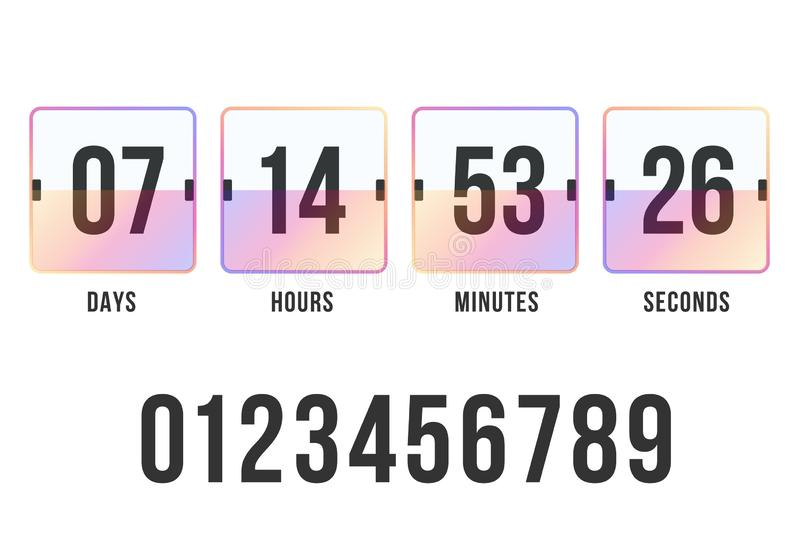 Countdown timer. Clock counter. Digital scoreboard. Vector template for your design stock image