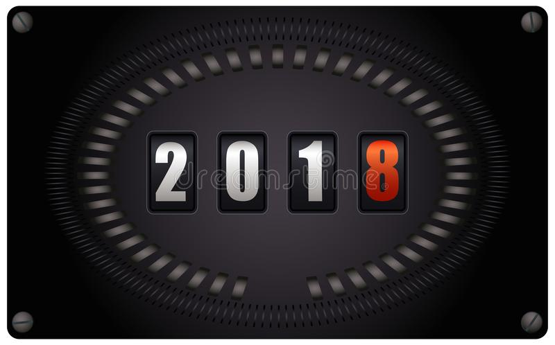 Countdown timer - New Year 2018. Countdown timer looks like speedometer - New Year 2018 - on white background stock illustration