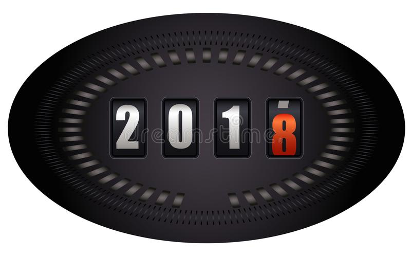 Countdown timer - New Year 2018. Countdown timer looks like speedometer - New Year 2018 - on white background royalty free illustration