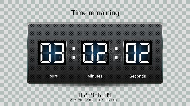 Countdown timer remaining or Clock counter scoreboard with hour, minutes and seconds display for web page coming soon. royalty free illustration
