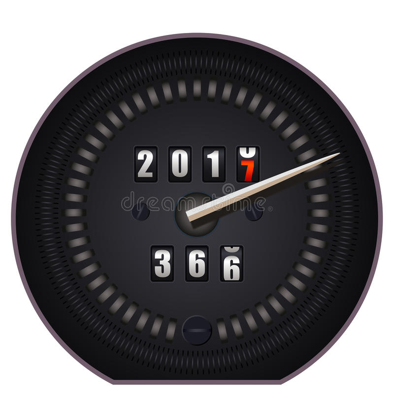 Countdown timer on speedometer - New Year 2017. On white background stock illustration