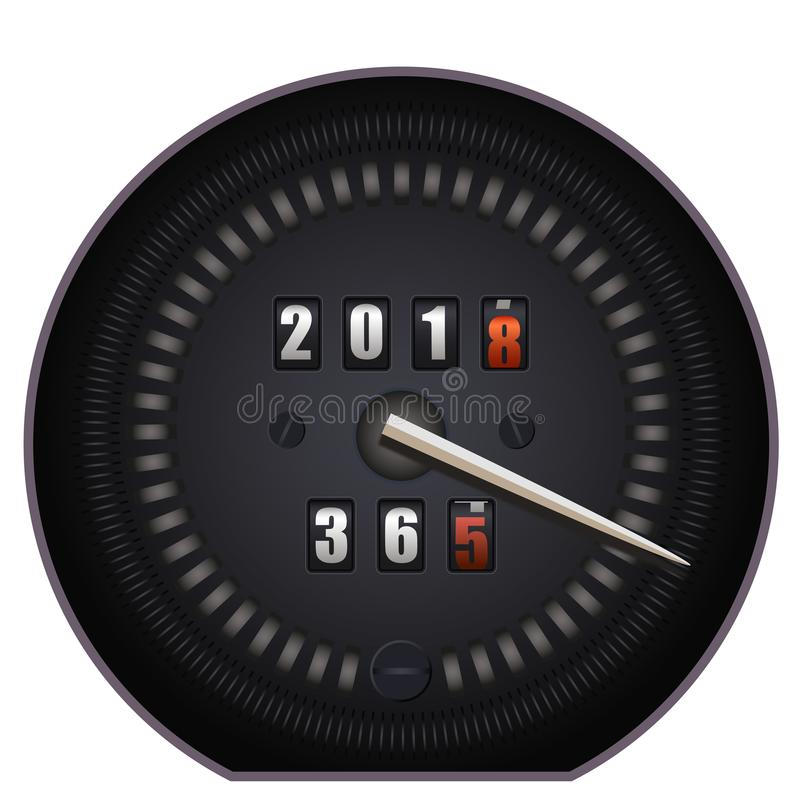 Countdown timer on speedometer - New Year 2018. On white background royalty free illustration