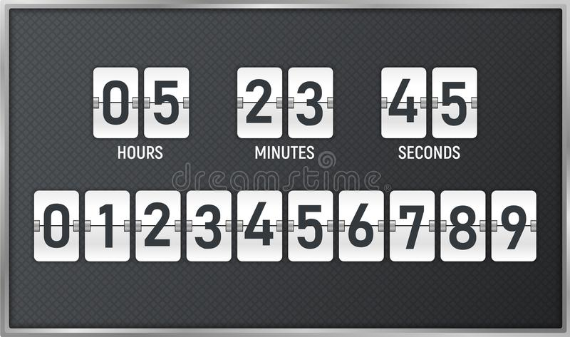Countdown timer. Time remaining count down flip board with scoreboard of day, hour, minutes and seconds for web page upcoming even stock illustration