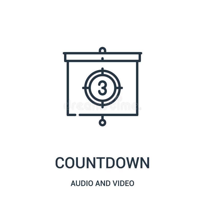 Countdownikonenvektor von der Audio- und Videosammlung Dünne Linie Countdownentwurfsikonen-Vektorillustration vektor abbildung