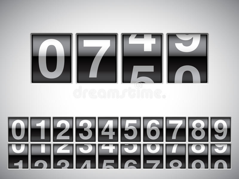 Counter. Counter with all numbers on white background stock illustration