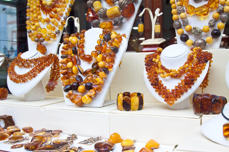 Counter With Amber Jewelry Royalty Free Stock Photography
