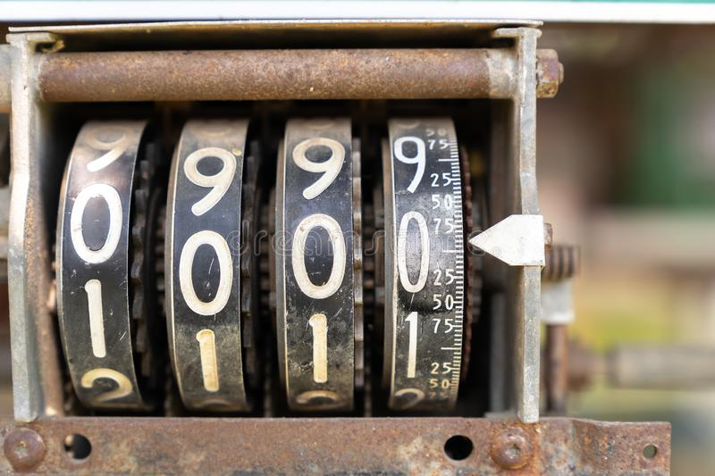 Counter analog number meter on vintage oil machine. Close up counter analog number meter on vintage oil machine royalty free stock images