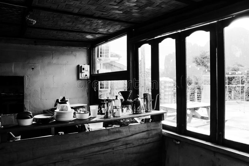 Vintage coffee shop in bungalow royalty free stock image