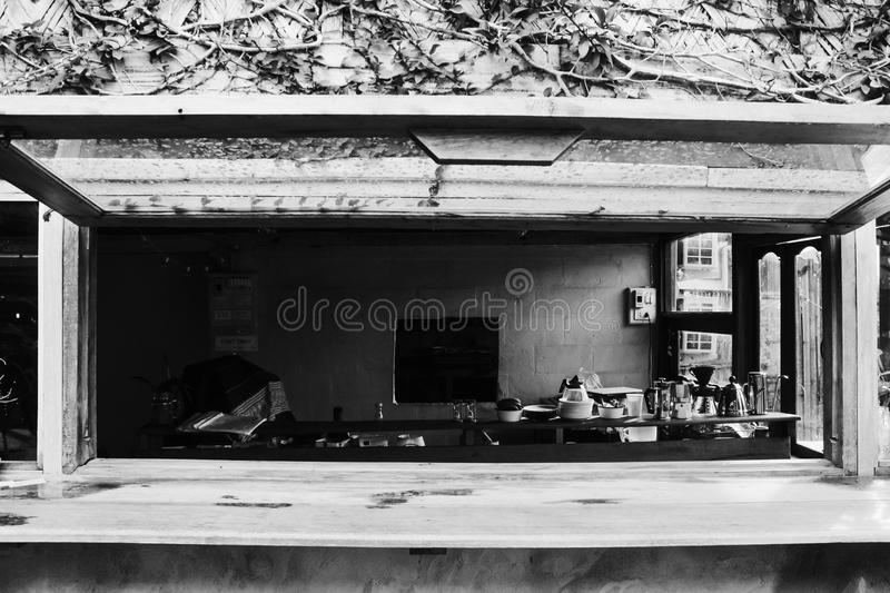 Vintage coffee shop in bungalow stock image