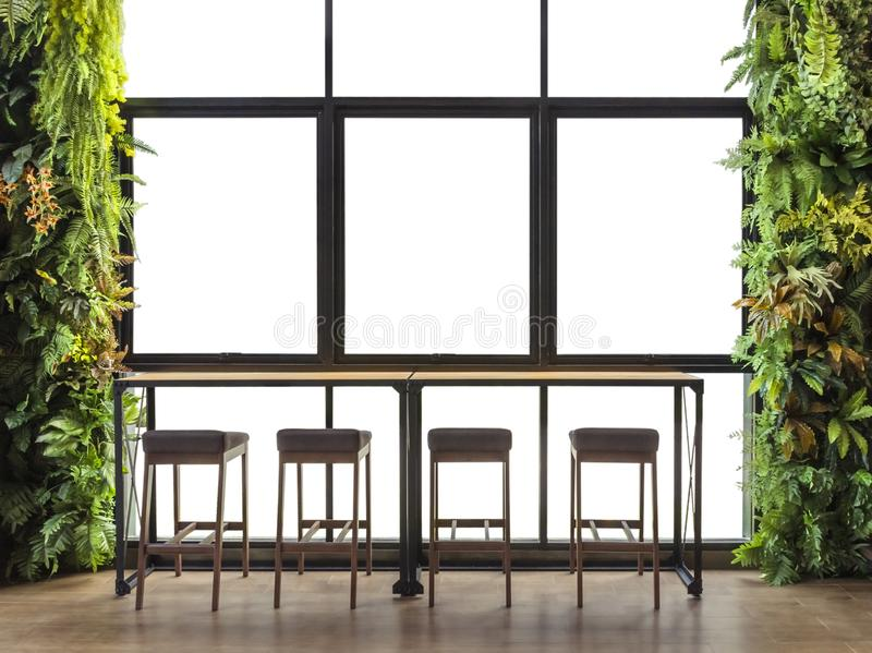 Counter bar with window view with ornamental shrubs, isolated on white background. With clipping path stock images