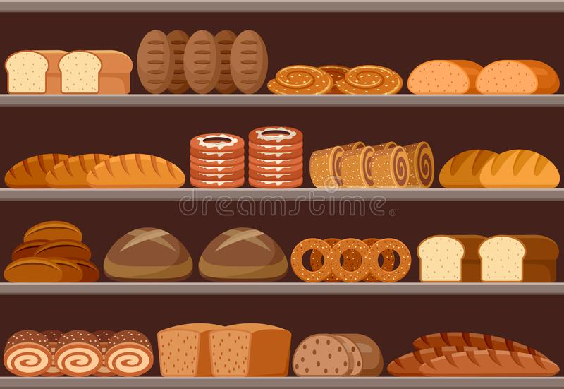 Counter with bread royalty free illustration