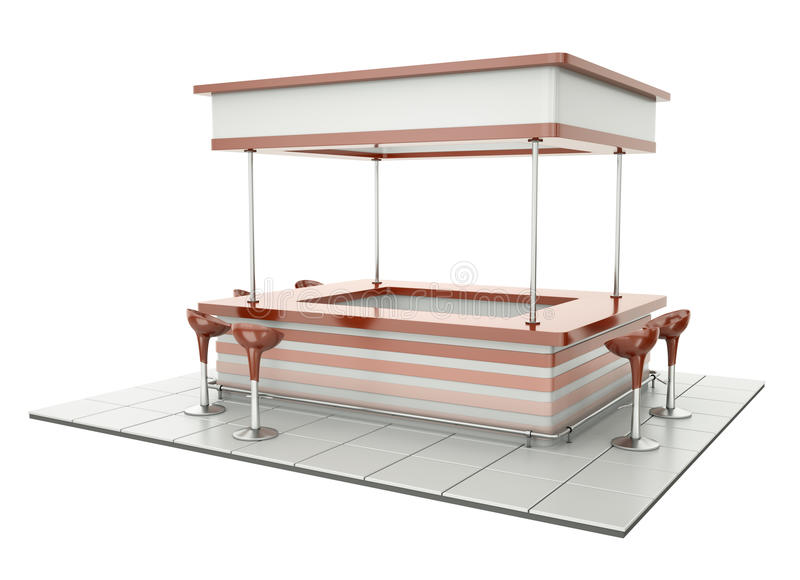 Counter with chairs. Empty retro bar counter with cafeteria chairs. Can be used as bistro counter or tradeshow tasting stand royalty free illustration