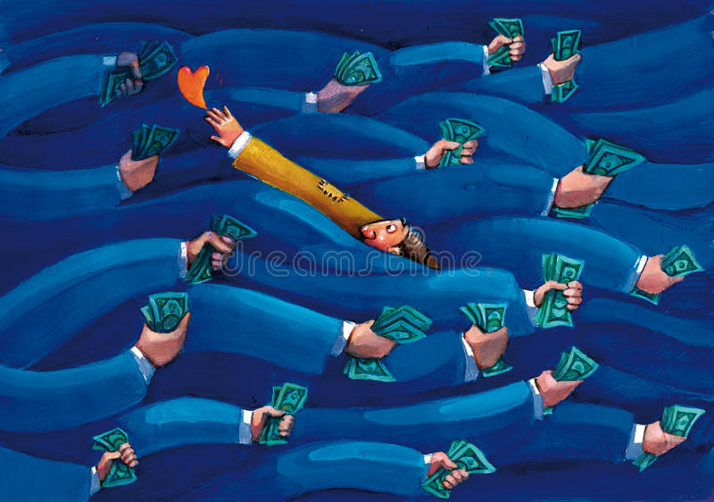 Counter current. Man chasing his heart going against who pursues profit stock illustration
