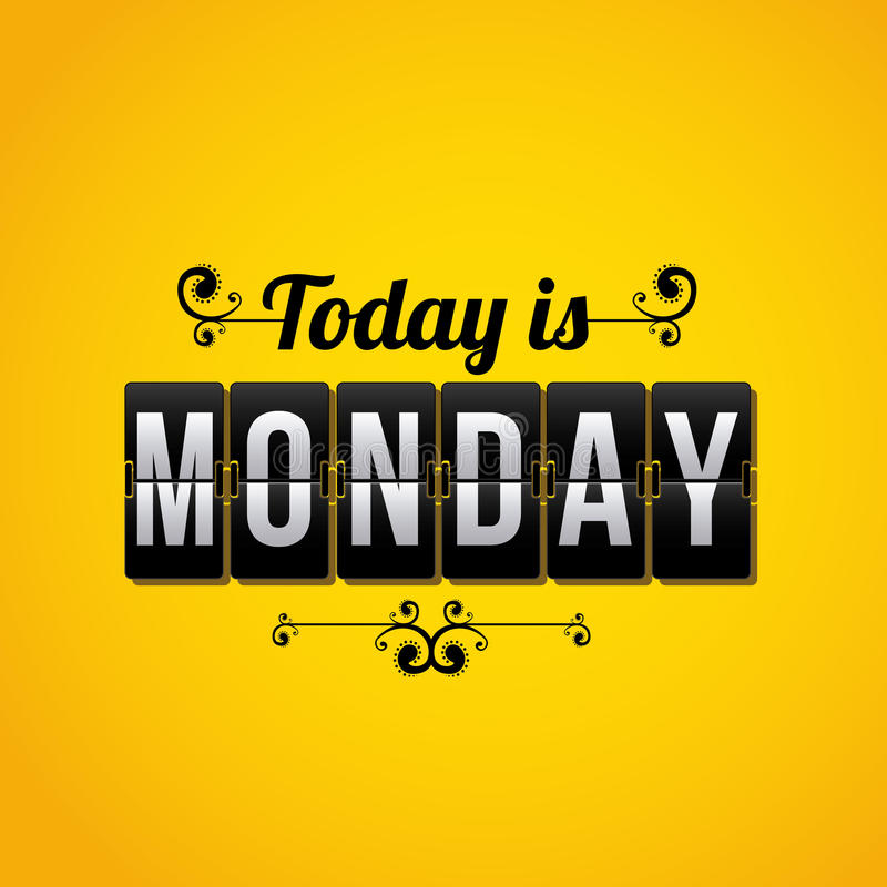 Counter days. Days counter indicating that today is Monday over yellow background royalty free illustration