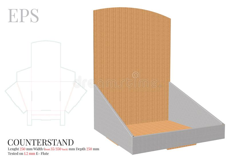 Counter Display Template, Vector with die cut / laser cut layers. Counter Stand, Header Shelf Box. Clear, blank, isolated Counter  royalty free illustration