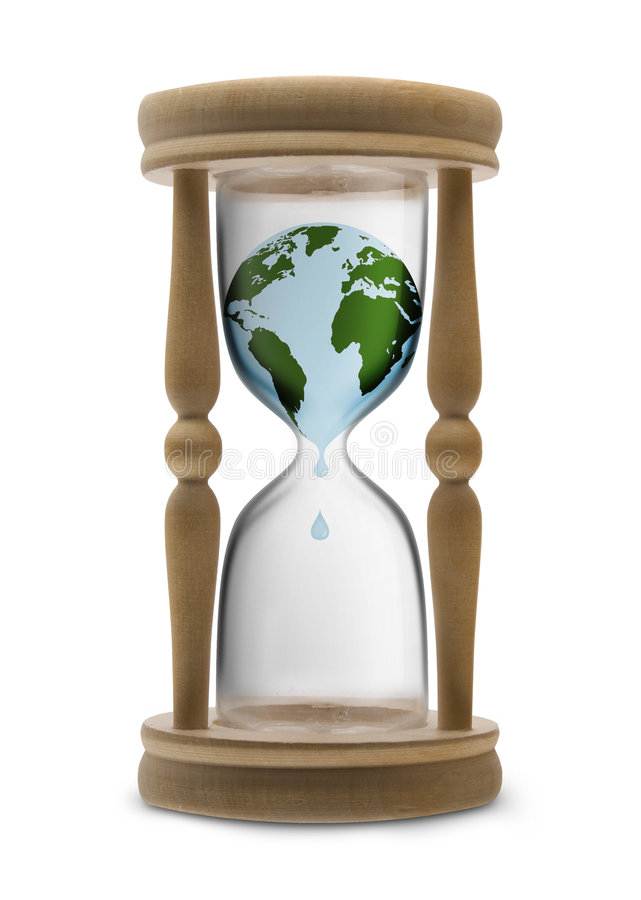 Counter for Earth. Bleed planet Earth in sand-glass - ecology metaphor stock illustration