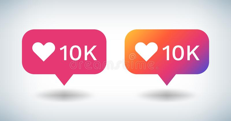 Counter Notification Icon. Social media gradient bulb with 10K followers likes comments. Vector UI button inspired by royalty free illustration