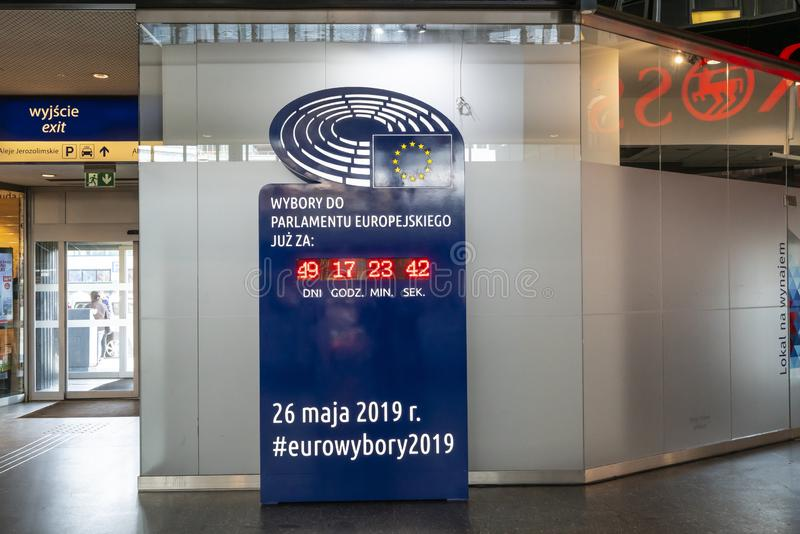 Counter of the remaining time Europeran elections stock image