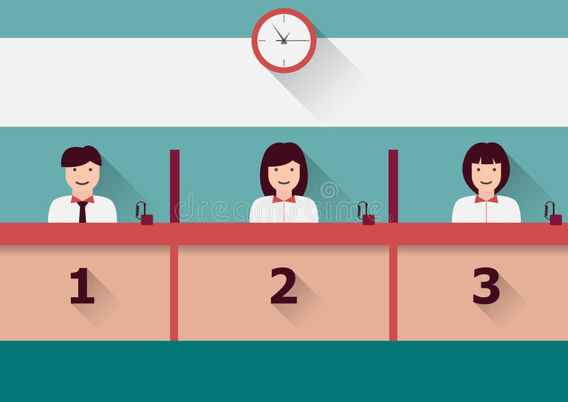 Counter service. Vector counter service clerks at work flat graphic royalty free illustration