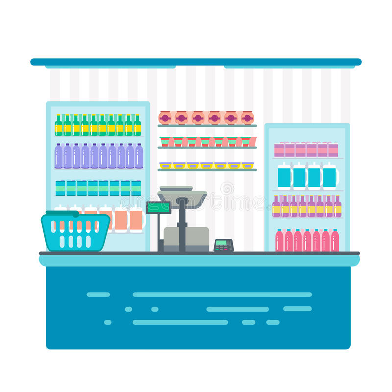 Counter stand in shop or supermarket. Retail checkout in store. Cashier desk or cash department. Vector illustration design isolated on white background vector illustration