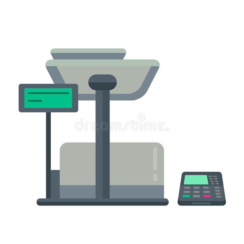 Counter stand in shop or supermarket. Retail checkout in store. Cashier desk in cash department. Vector illustration design isolated on white background stock illustration