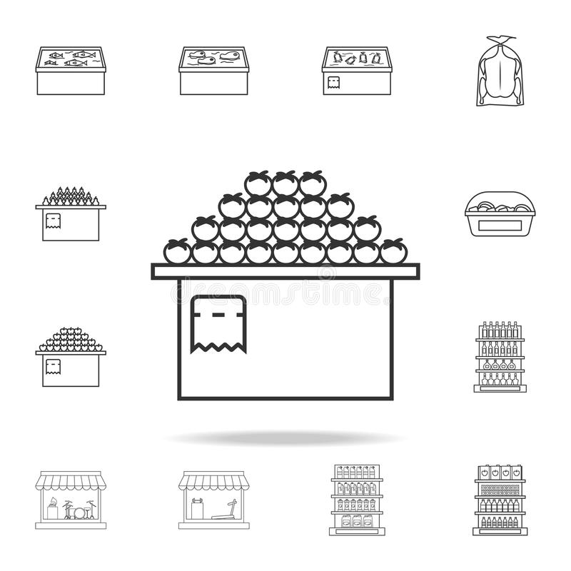 Counter with tomatoes icon. Detailed set of shops and hypermarket icons. Premium quality graphic design. One of the collection ico. Ns for websites, web design royalty free illustration