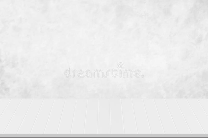 Counter top,perspective white wooden groove with blurred white or light grey marble stone natural texture background design of dec royalty free stock photo