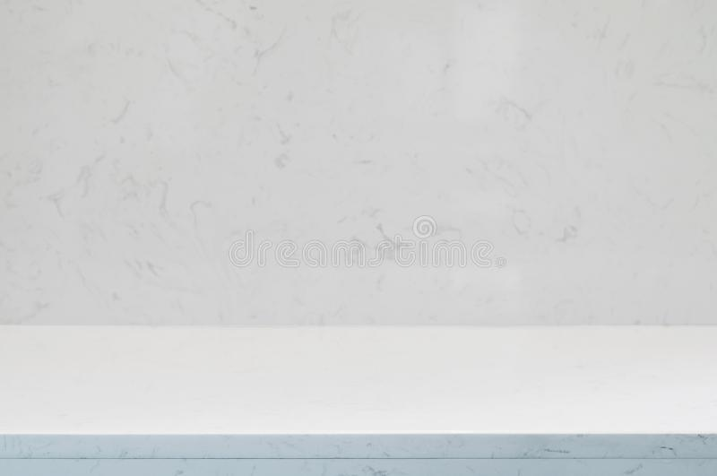 Counter top,wall and floor white or light grey marble stone design of decoration clean background.Used for montage or display prod royalty free stock photography