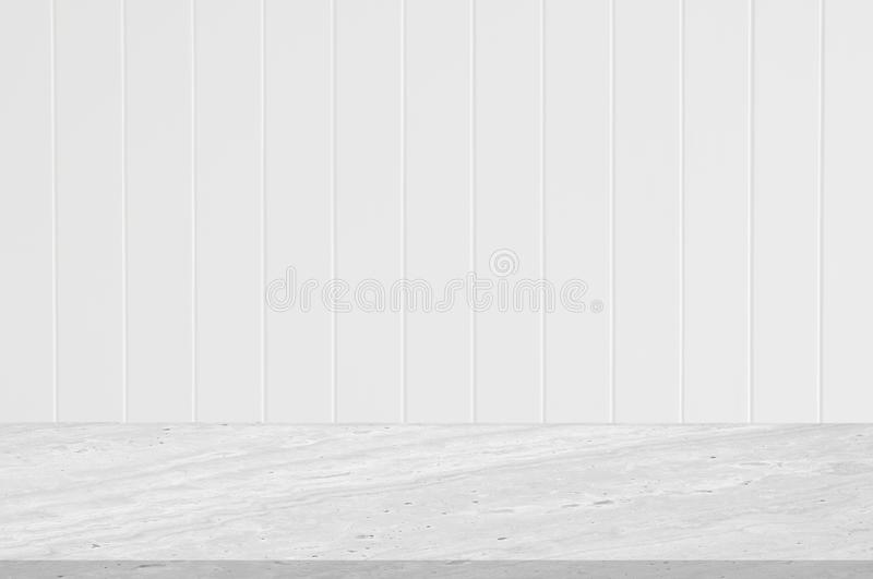 Counter top white marble stone with white wall wooden groove vertical line texture spray white color design of decoration clean b royalty free stock images