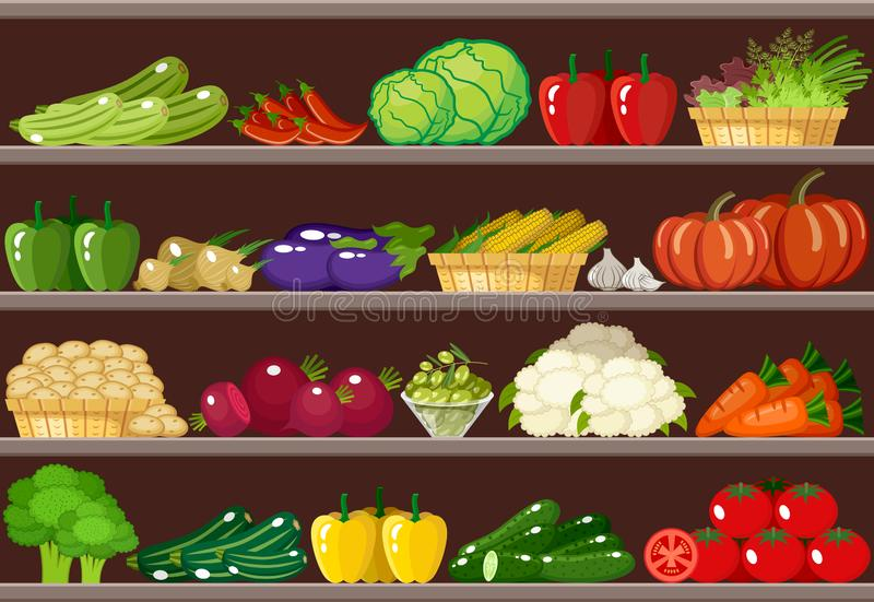 Counter with vegetables. Supermarket. royalty free stock images