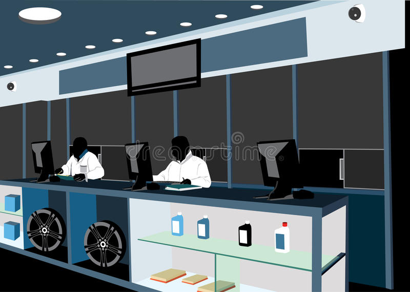 Counter workers. Silhouette style illustration of two sales men or service men, behind a counter. Inside a auto repair shop royalty free illustration