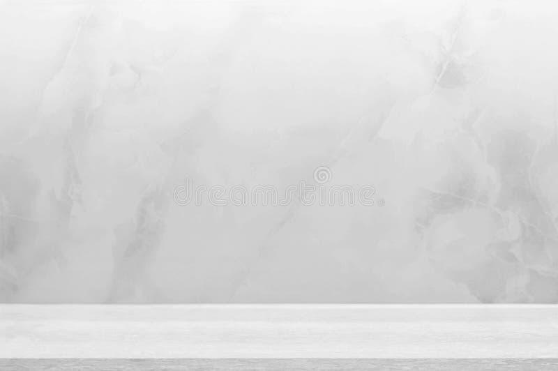 Countertop, muur grijze marmeren steen met vloer grijs houten ontwerp van decoratie schone achtergrond Gebruikt voor montering of royalty-vrije stock foto