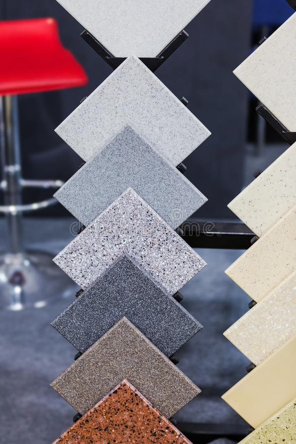 Countertop Samples. Front view of color samples stone, acrylic solid surface.  royalty free stock images