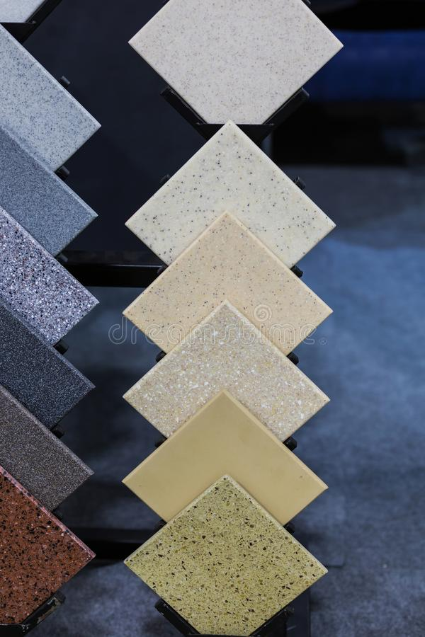 Countertop Samples. Front view of color samples stone, acrylic solid surface.  stock photography
